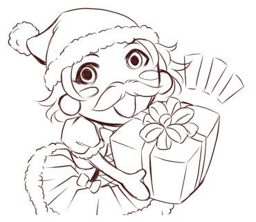 Chompoo☆ChihiroさんLINEスタンプ 没ラフ画 サンタちゃん